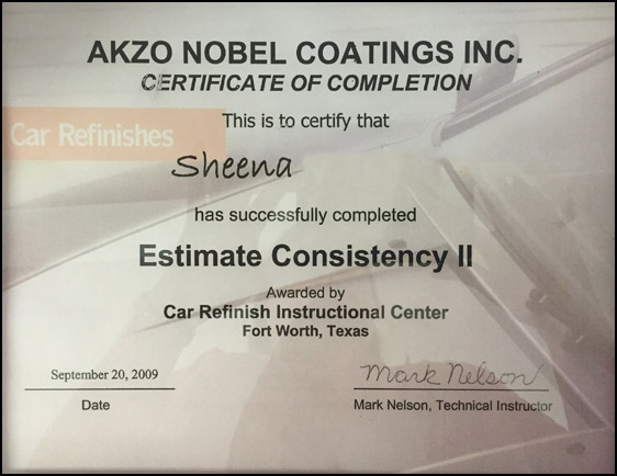Akzo Sheena Certification